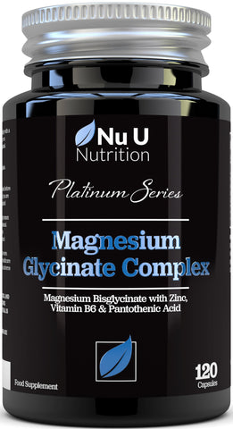 Magnesium Glycinate added Vitamin B6, Zinc and Pantothenic Acid, 120 Magnesium Bisglycinate Capsules, Vegan & Vegetarian