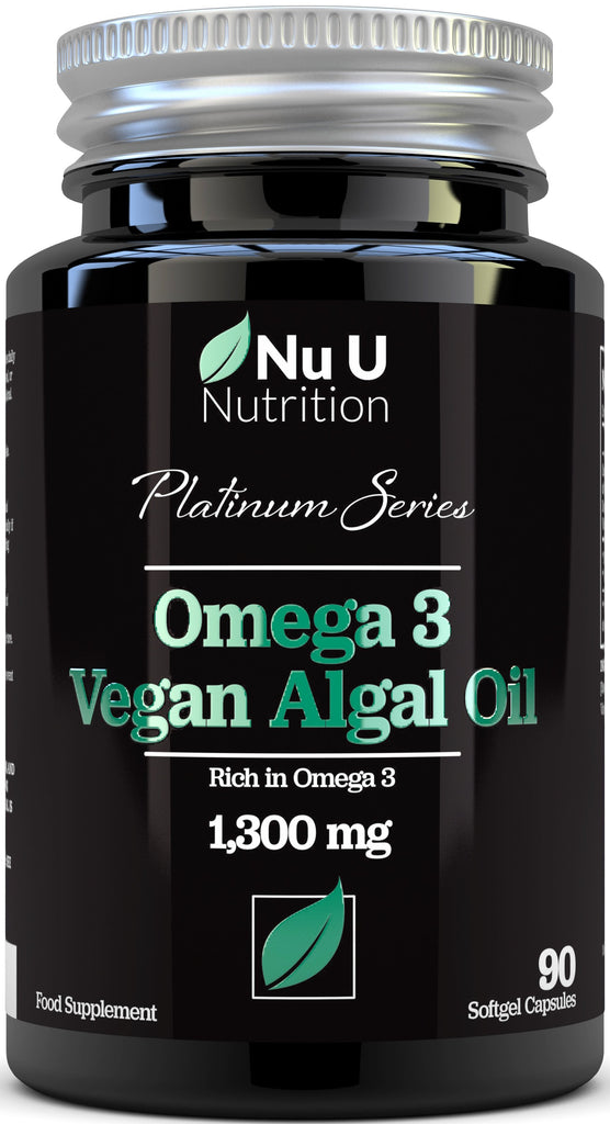 Vegan Omega 3 Rich Algae Oil Capsules with Vitamin E - 1300mg Algae Oil, 90 Softgels