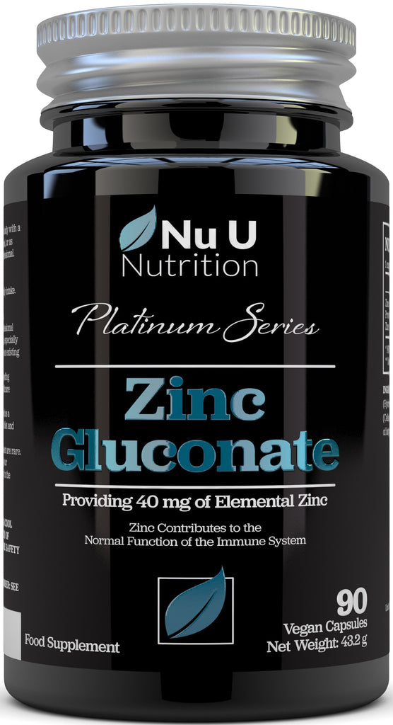 Zinc Gluconate 40mg, 90 Vegan High Strength Capsules Providing 40mg of Elemental Zinc
