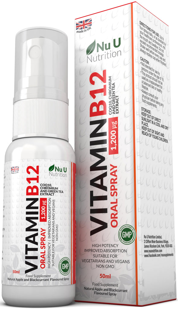 Vitamin B12 Spray 50ml 1,200 µg of B12 with CoQ10, Chromium and Green Tea Extract, Natural Apple and Blackcurrant Flavoured, Vegetarian and Vegan
