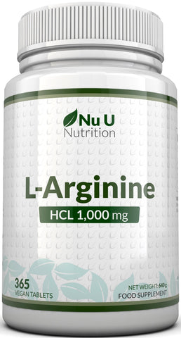 L-Arginine HCL 1000mg 365 Tablets Full year Supply, Vegetarian & Vegan