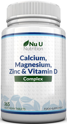 Calcium, Magnesium, Zinc & Vitamin D Vegetarian Supplement - 6 Month Supply, 365 Veggie Tablets