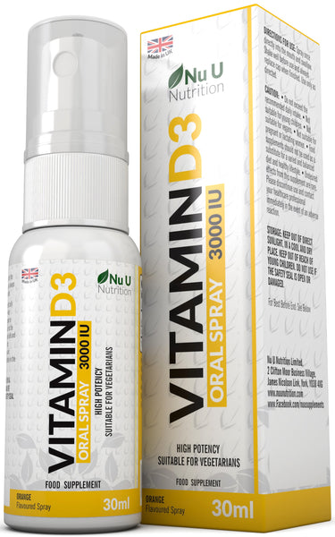 Vitamin D3 Spray 30ml 3000IU, Vegetarian Vitamin D3 Spray, Double Size of Competing Brands