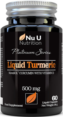 Turmeric Curcumin Liquid 60 Softgels with Vitamin D3, NovaSOL® Curcumin 185 More Absorbed, Vegetarian .