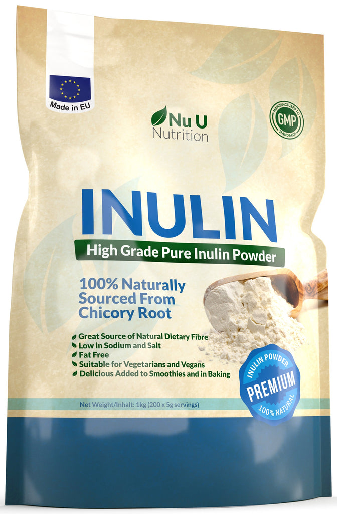 Inulin Prebiotic Fibre Powder 1kg, from Natural Chicory Root in Resealable Bag