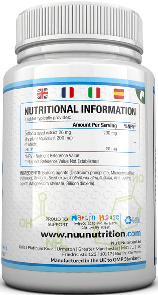 5 HTP 200mg - 180 Tablets - Natural Griffonia Extract