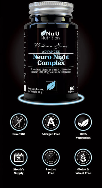 Neuro Night Sleeping Aid with 5-HTP, Magnesium & Natural Melatonin Sources, 90 Vegetarian Capsules, includes Montmorency Cherry, Chamomile, Lemon Balm, L-Theanine, Lavender Flower and Vitamin B12