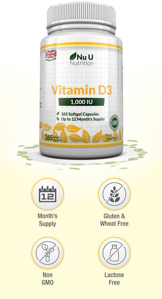 Vitamin D3 365 Softgels, 1,000IU, Cholecalciferol Vitamin D, Full Year Supply