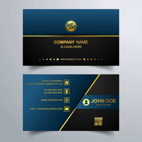 Blue business card with gold lines