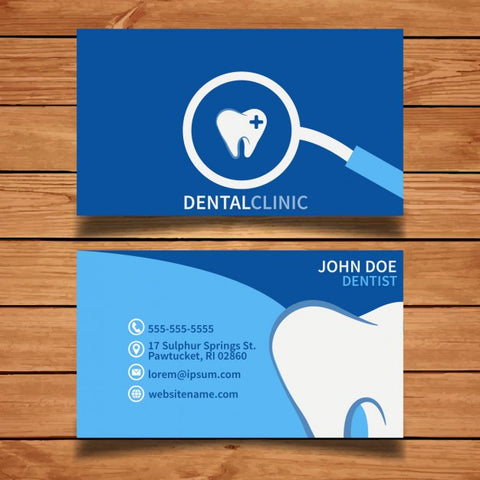 Blue dental business card