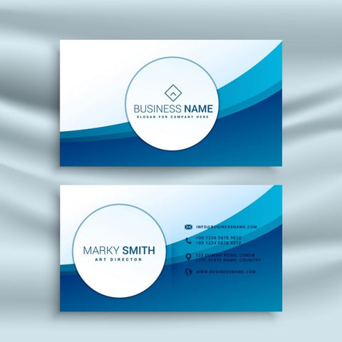 Business card template with blue abstract wave