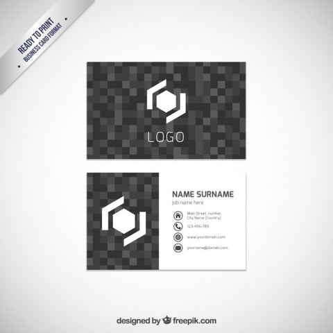 Business card template with dark pixels