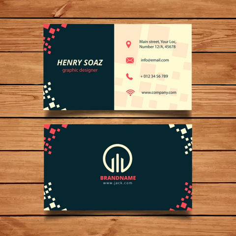 Business card template with squares