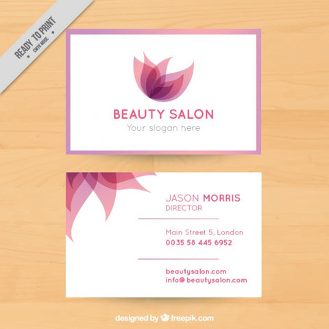 Business card with abstract flowers - Impresiku.com