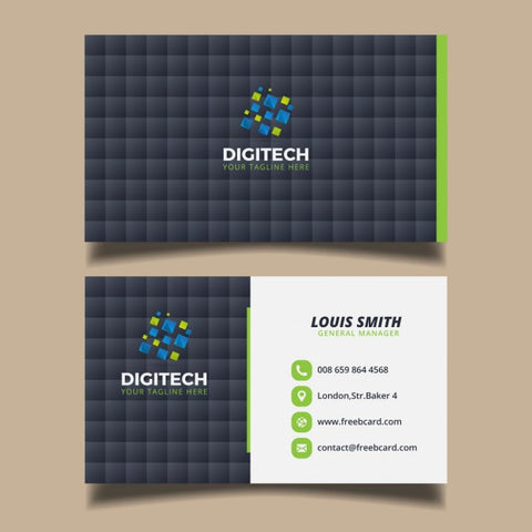 Business card with black squares