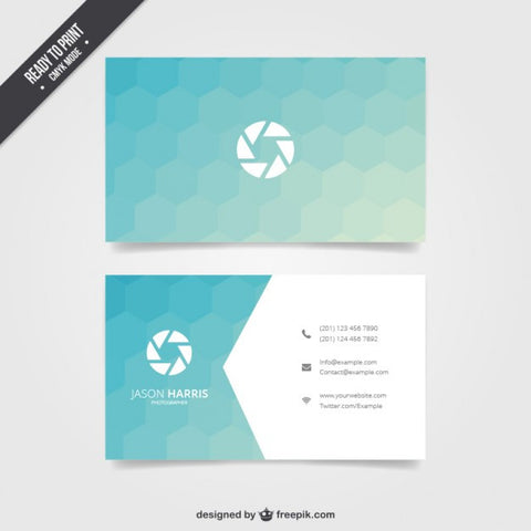 Business card with blue hexagons - Impresiku.com