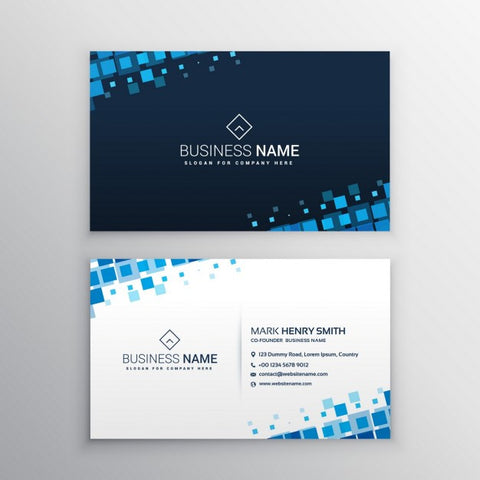 Business card with blue squares - Impresiku.com