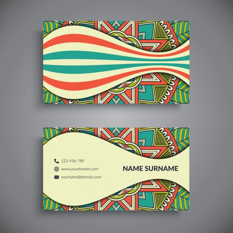 Business card with colored lines and a mandala