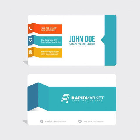 Business card with geometric shapes, different colors