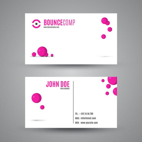 Business card with magenta spheres