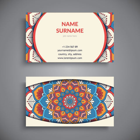 Business card with mandala, boho style - Impresiku.com