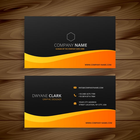 Business card with orange wave - Impresiku.com