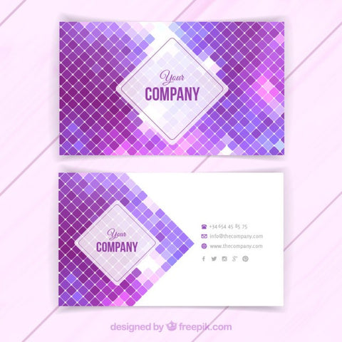 Business card with purple squares
