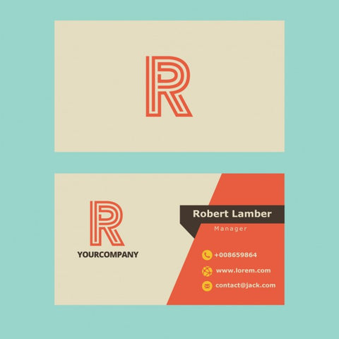 Business card with R letter