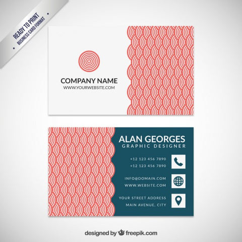 Business card with red japanese pattern - Impresiku.com