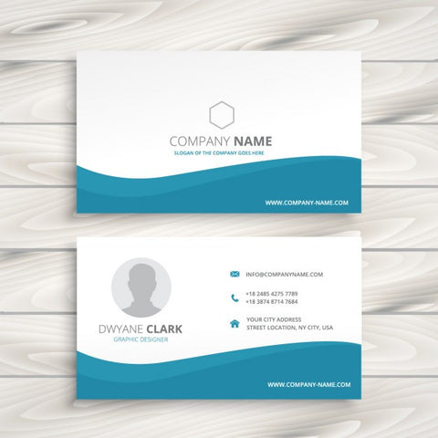 Business card with turquoise wave