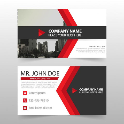 Business cards with red arrow shapes