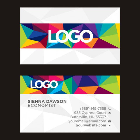 Coloured polygonal business card