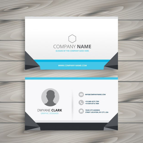 Creative business card grey and blue