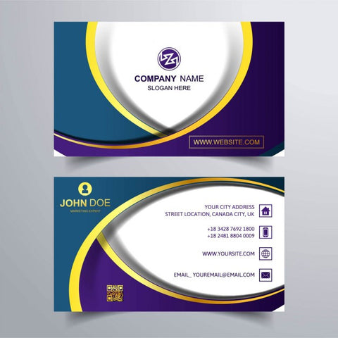 Elegant business card with wavy shapes