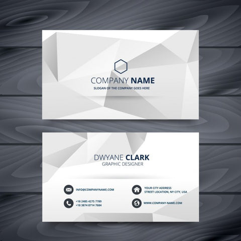 Grey business card in low poly style