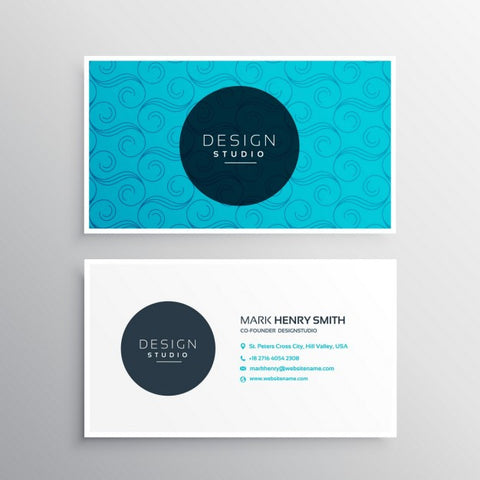 Light blue business card in ornamental style