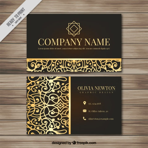 Ornamental business card with golden details