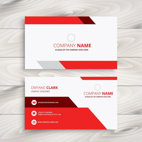 Red and white modern business card - Impresiku.com