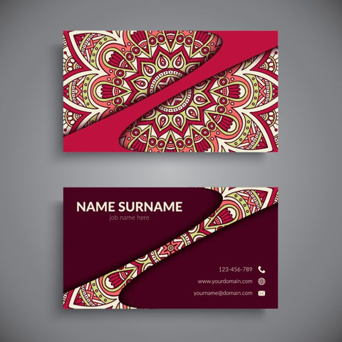 Red business card with a mandala - Impresiku.com