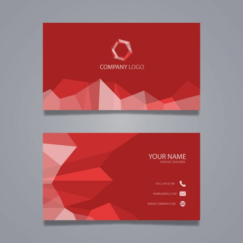 Red polygonal business card - Impresiku.com