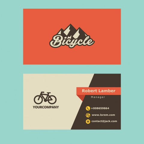 Retro business card with bicycle logo - Impresiku.com