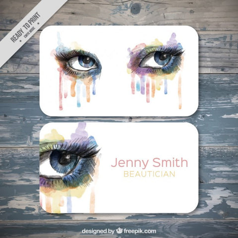 Watercolor Beautician Business Card