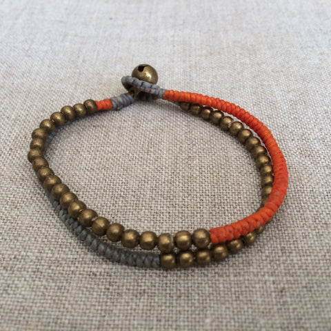 BRACELET PEARLS GOLD, ORANGE AND GREY/BRACELET PERLES OR,ORANGE,GRIS