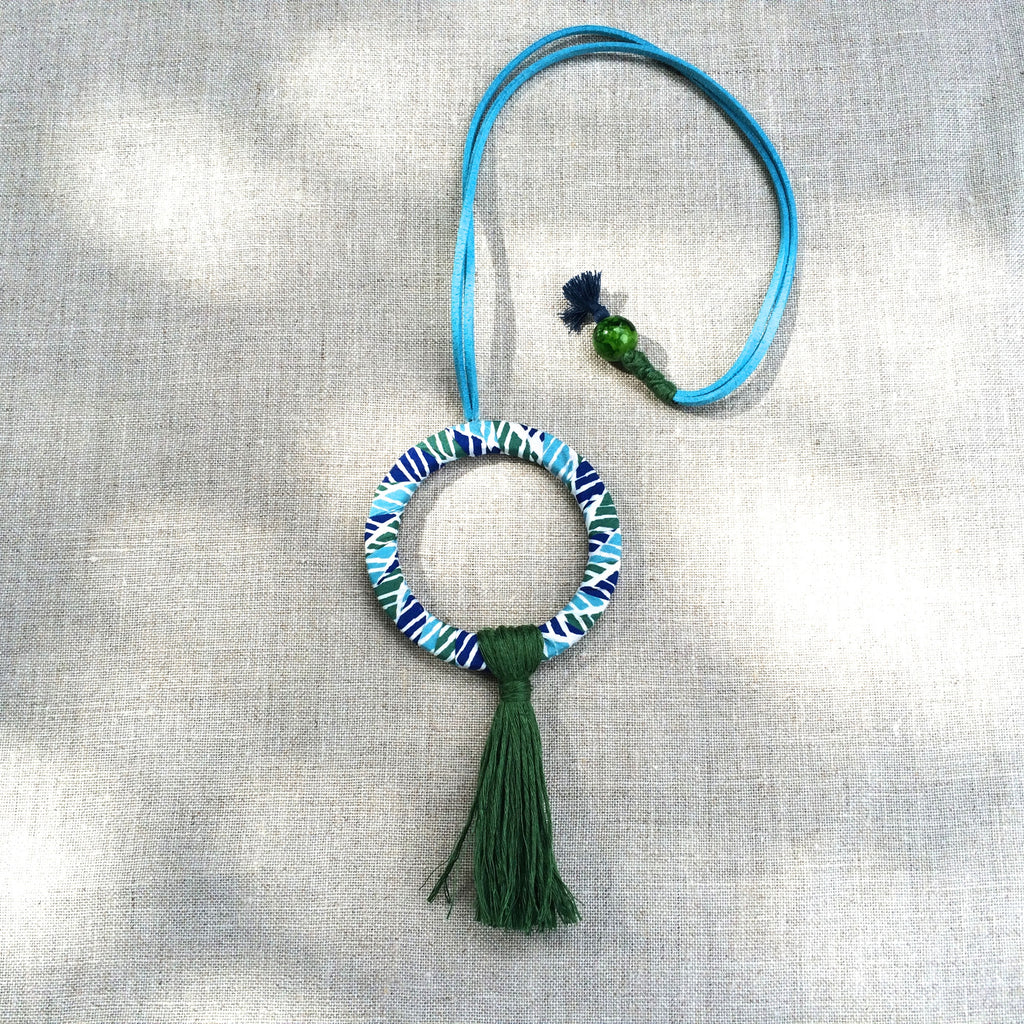 NECKLACE NOMAD ROUND GREEN