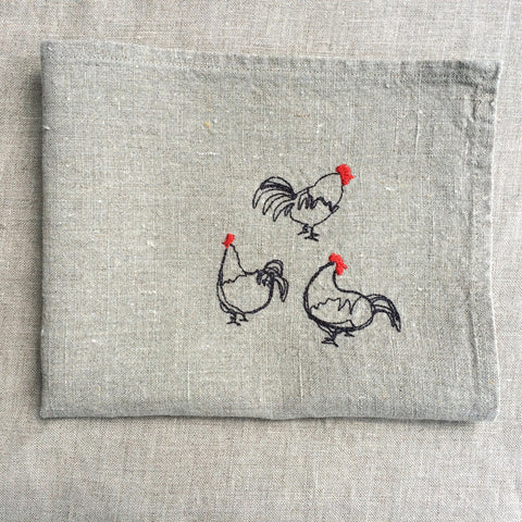 4 PLACE MAT HEN LINEN/ 4 SETS TABLE POULES