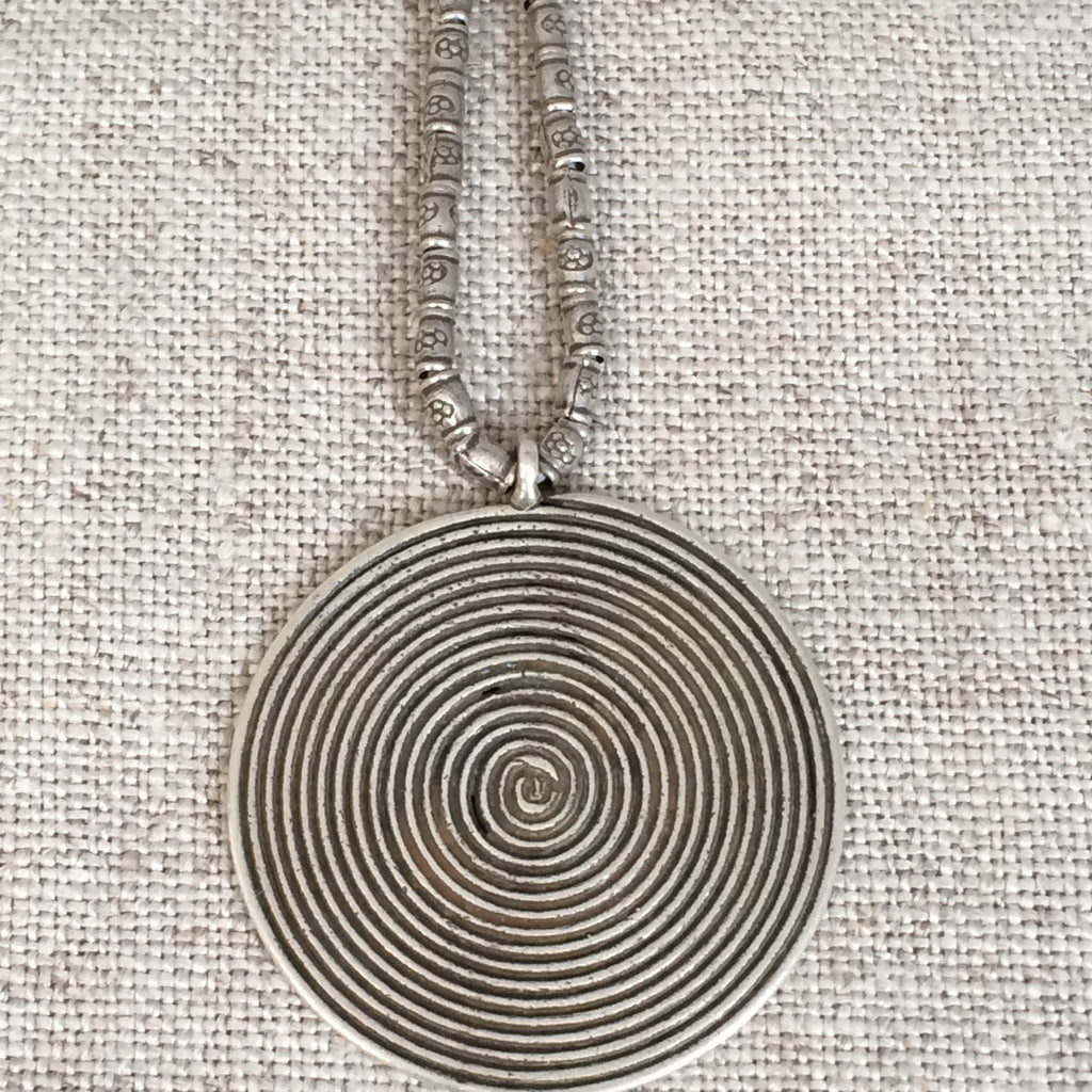 NECKLACE SILVER ROUND/PENDENTIF ARGENT ROND
