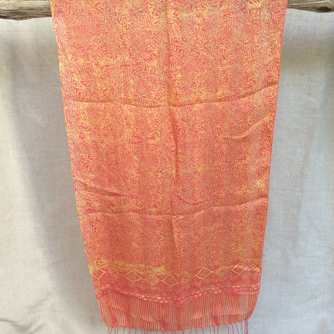 SCARVE SILK DARK ORANGE LIGHT/FOULARD SOIE ORANGE CLAIR