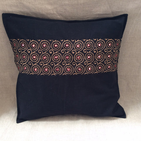 PILLOW COVER ZU MIROR BLACK AND RED/ HOUSSE COUSSIN MIROIR