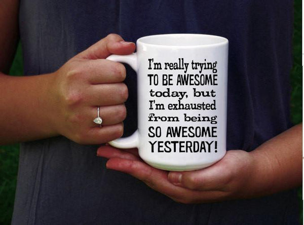Funny Coffee Mug - Awesome Today Coffee Cup - Funny Gift for Her - Dishwasher Safe Mug - Funny Gift for Him - Black and White Typography Mug,  - Do Take It Personally