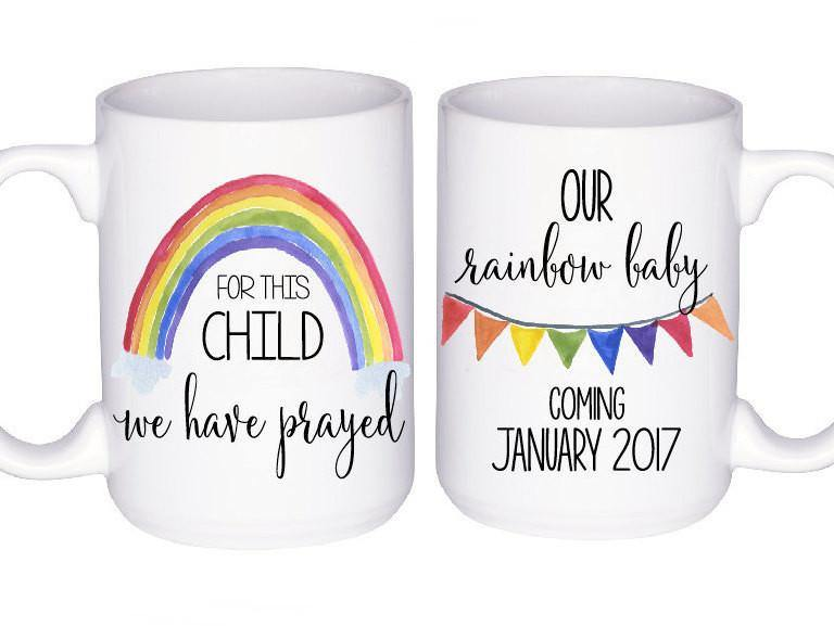 Pregnancy Announcement - Rainbow Baby Gift - Rainbow Baby Announcement - For This Child We Have Prayed - Baby Announcement Mug - Cute Mug